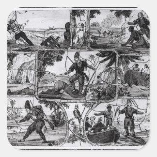 """Platser från """"Robinson Crusoe"""" vid Daniel Defoe Fyrkantigt Klistermärke"""