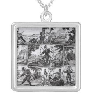 """Platser från """"Robinson Crusoe"""" vid Daniel Defoe Silverpläterat Halsband"""