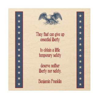platta Benjamin Franklin för vägg för frihetörn Trätavla