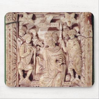 Platta som visar kungen David, installerar Musmatta