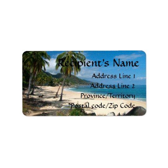 Playa Los Caballos blått Adressetikett