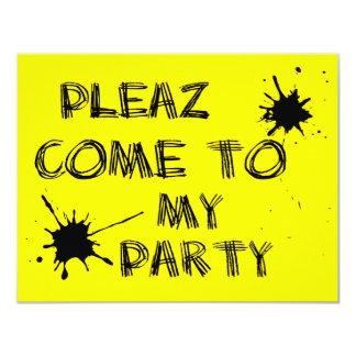 Pleaz kom till mitt party 10,8 x 14 cm inbjudningskort