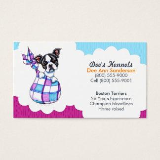 Plommon för blått för valp för hundavelsdjurBoston Visitkort