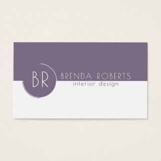 Plommon-Lilor & för vit modern geometrisk design Visitkort