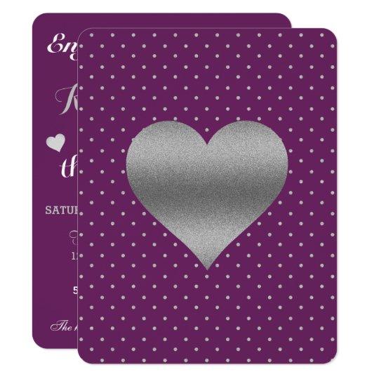 Plommonet och den silverhjärta & polkaen pricker 10,8 x 14 cm inbjudningskort
