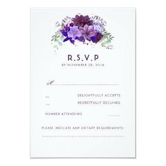 Plommonvioleten blommar elegant bröllopOSA 8,9 X 12,7 Cm Inbjudningskort