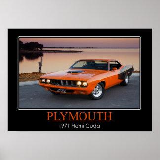 Plymouth 1971 Hemi Cuda - muskelbil Posters