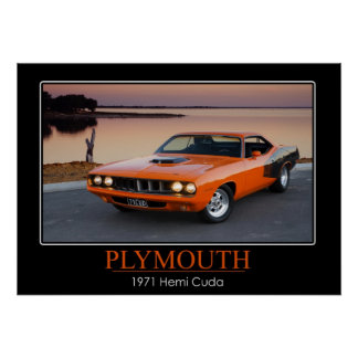 Plymouth 1971 Hemi Cuda - muskelbil Poster