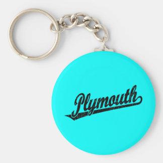 Plymouth skrivar logotypen i den bedrövade svarten rund nyckelring