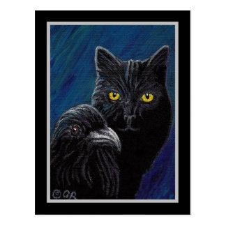 Poes katt & korpsvarta vykort