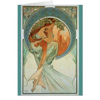 Poesi av Alfons Mucha - art nouveau Hälsningskort
