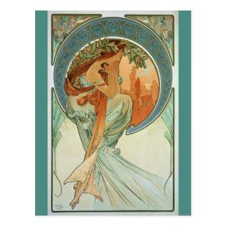 Poesi av Alfons Mucha - art nouveau Vykort