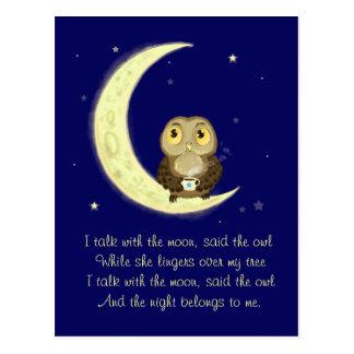 Poesi för kaffe för måneuggla midnatt vykort