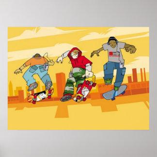 Pojkar som hoppar på Skateboardsaffischen Poster