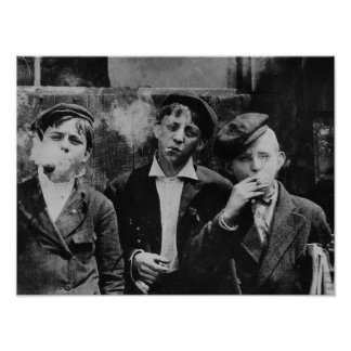 Pojkar som röker cigaretter poster