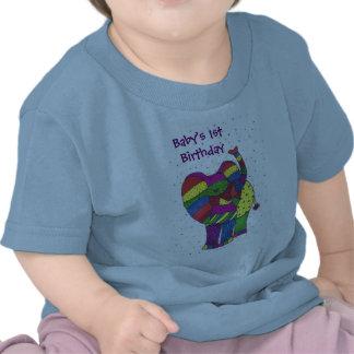 Pojke 1st t-skjorta för födelsedagelefant t-shirts