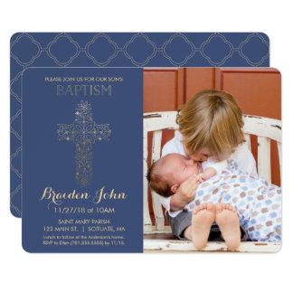 Pojke dop, Christeninginbjudan, foto, guld 12,7 X 17,8 Cm Inbjudningskort