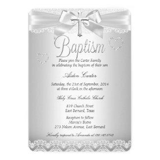 Pojke eller flicka för dop för silversnörekor 12,7 x 17,8 cm inbjudningskort