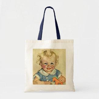 Pojke eller flicka för vintage gullig blond budget tygkasse