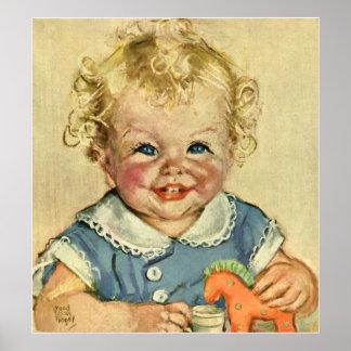 Pojke eller flicka för vintage gullig blond skandi print