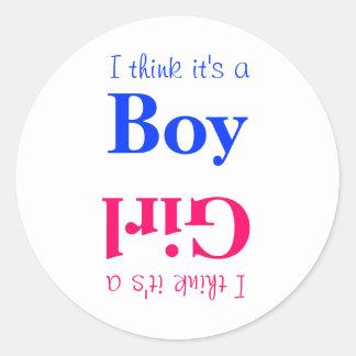 Pojke- eller flickababygender avslöjer den modiga runt klistermärke