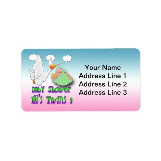Pojke- & flickatwillingar 2 - Storkbaby Adressetikett