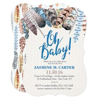 Pojke för baby shower för Boho stam- 12,7 X 17,8 Cm Inbjudningskort