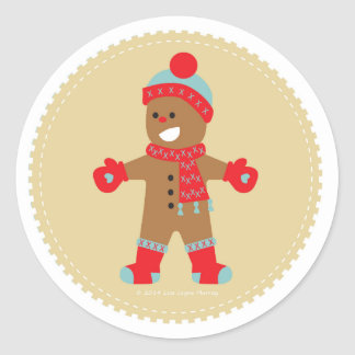 Pojke för blåttpepparkakakaka runt klistermärke