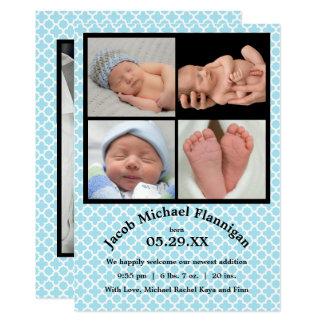 Pojke för fotoCollageblått - födelsemeddelande 12,7 X 17,8 Cm Inbjudningskort
