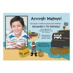 Pojke för piratfraktfoto inbjudan 5x7 för födelsed