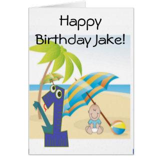 Pojke första födelsedag hälsningskort