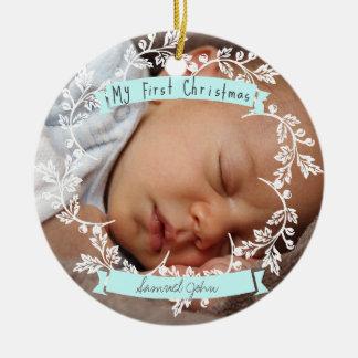 Pojke första prydnad för fotojul rund julgransprydnad i keramik