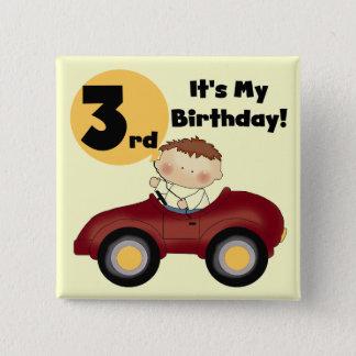 Pojke i 3rd födelsedagT-tröja och gåvor för röd Standard Kanpp Fyrkantig 5.1 Cm