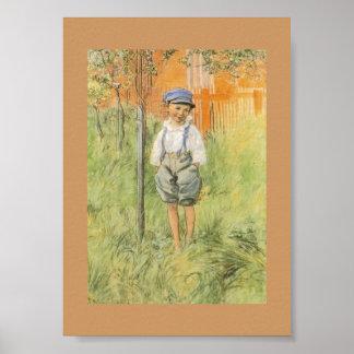 Pojke i gräset print