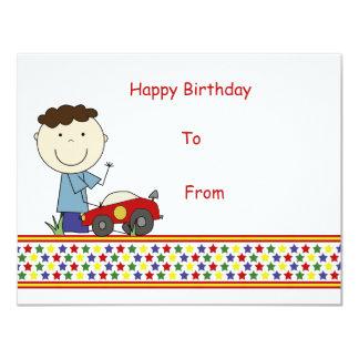 Pojke med bilen - barns gåvakort 10,8 x 14 cm inbjudningskort