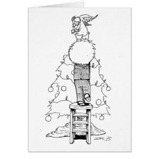 Pojke med en julängel hälsningskort