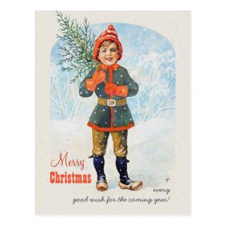 Pojke med en julgran CC0935 Jenny Nyström Vykort