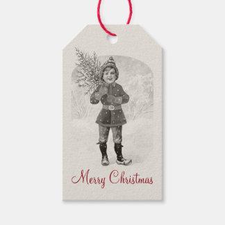 Pojke med en julgran CC0936 Jenny Nyström Presentetikett