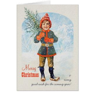 Pojke med en julgran Jenny Nyström CC0934 Hälsningskort