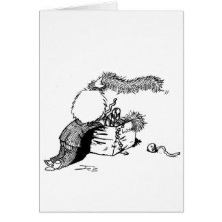 Pojke med julgranbrämar hälsningskort