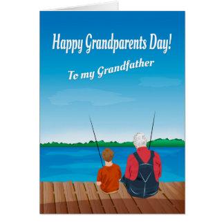 Pojke och farfar för morförälder dag hälsningskort