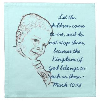 Pojke och nalle (markera 10:14), tygservett