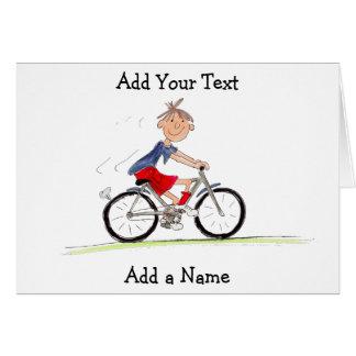 Pojke på cykelillustration hälsningskort