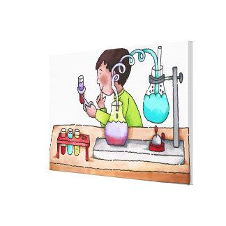 Pojke som gör vetenskapsexperiment canvastryck