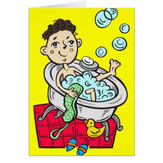 Pojke som tar badet OBS kort