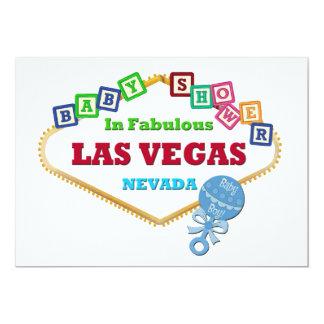 Pojkedusch i pladder för Las Vegas kortblått 12,7 X 17,8 Cm Inbjudningskort