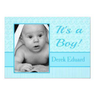 Pojkefödelsemeddelande 12,7 X 17,8 Cm Inbjudningskort