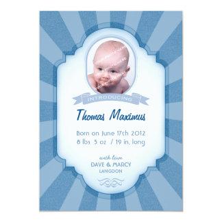 Pojkefödelsemeddelande - blått 12,7 x 17,8 cm inbjudningskort