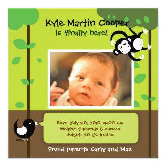Pojkefödelsemeddelande Fyrkantigt 13,3 Cm Inbjudningskort