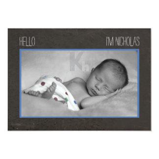 Pojkefödelsemeddelande med svart tavlatema 12,7 x 17,8 cm inbjudningskort